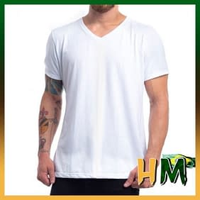 Camiseta de odão Penteado Branco Gola V